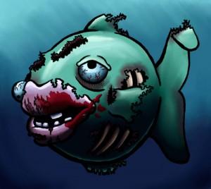 Dopey Zombie Fish, ink, Corel Painter