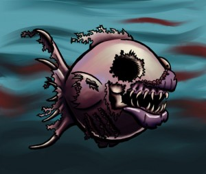 Scary Zombie Fish, ink & Corel Painter